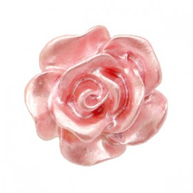 Roosjes kralen 10mm Wit-dusty rose pearl shine