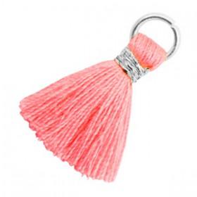 Kwastjes 1.8cm Zilver Neon coral pink