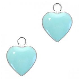 Metaal bedel hartje Silver-light blue