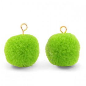 Pompom 1.5cm met gouden oog Dark lime green