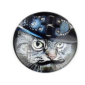 20mm cabochon steampunk print dark cat