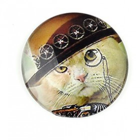 20mm cabochon steampunk print White cat
