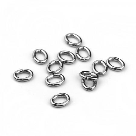 Metalen ovale buigring edelstaal 304 Stainless steel zilverkleur 6.5x5mm