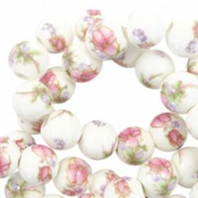 Keramiek kraal rond 8mm Wit-roze
