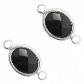 Facet tussenstuk ovaal 10x9mm Black opaque-silver