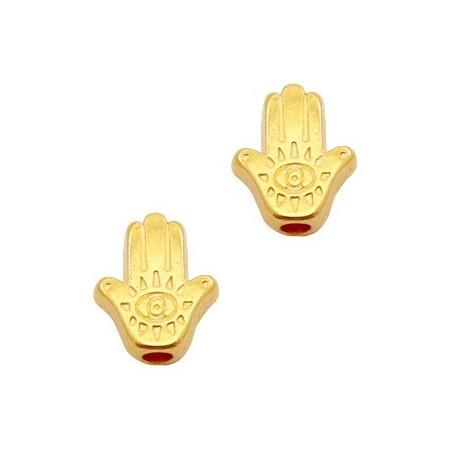 Kralen DQ metaal Hamsa hand Goud (nikkelvrij)
