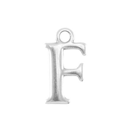 DQ letter bedel F Antiek zilver (nikkelvrij)