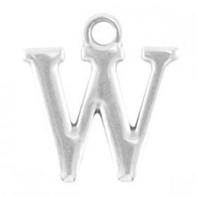 DQ letter bedel W Antiek zilver (nikkelvrij)