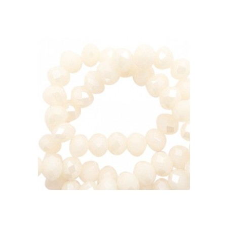 Facet kralen 6x4mm Cream blush-pearl shine coating