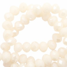 Facet kralen 4x3 mm Cream blush-pearl shine coating