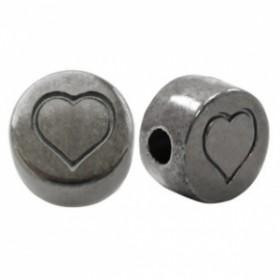 Letterkralen DQ metaal hart Zilver antraciet (nikkelvrij)
