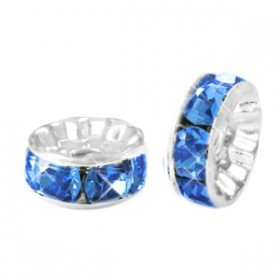 Rondellen met Strass 6mm Silver-blue