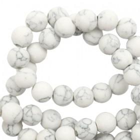 Natuursteen 8mm kralen mat met marble look White