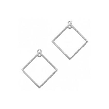 DQ metaal bedel ruit Antiek zilver (nikkelvrij)