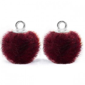 Pompom 12mm Port purple red-silver
