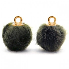 Pompom 12mm Olive grey-gold