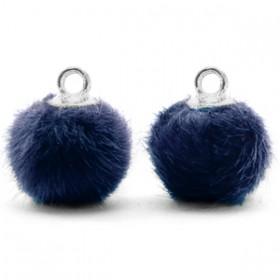Pompom 12mm Dark blue-silver