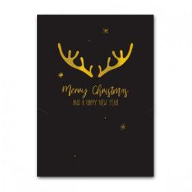Sieraden kaart Kerst rendier Black-gold