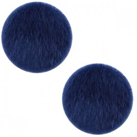 Faux fur cabochon 20mm Dark blue