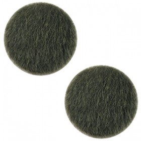 Faux fur cabochon 12mm Army green