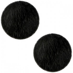 Faux fur cabochon 20mm Black
