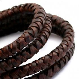 DQ leer 6mm rond gevlochten Vintage auburn brown