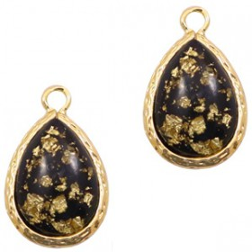 Facethanger druppel 10x14mm Black gold flakes-gold