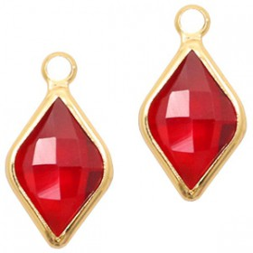Facethanger rhombus 10x14mm Red crystal-gold
