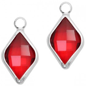 Facethanger rhombus 10x14mm Red crystal-silver