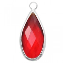 Facethanger druppel 10x20mm Red crystal-silver