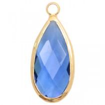 Facethanger druppel 10x20mm Blue crystal-gold