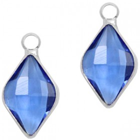 Facethanger rhombus 10x14mm Blue crystal-silver