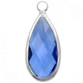 Facethanger druppel 10x20mm Blue crystal-silver