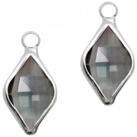 Facethanger rhombus 10x14mm Dark grey crystal-silver