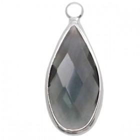 Facethanger druppel 10x20mm Dark grey crystal-silver