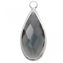 Facethanger druppel 10x20mm Dark grey crystal-silver