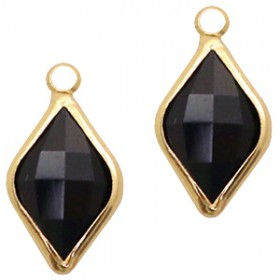 Facethanger rhombus 10x14mm Jet black-gold