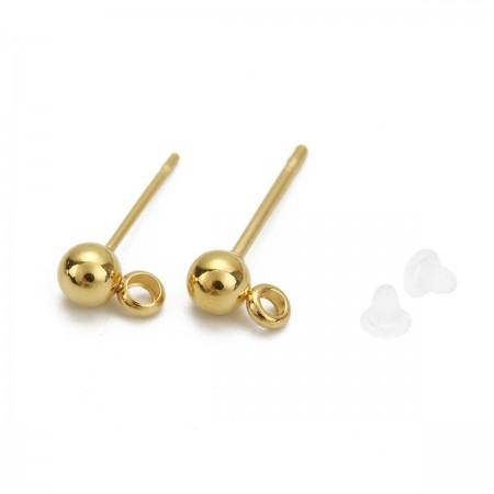RVS oorstekers met bolletje en oogje stainless steel Goud