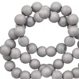 Half edelsteen kralen rond 6mm Agaat Silver metallic