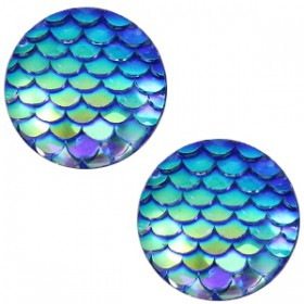 cabochon 12mm basic mermaid Capri blue holographic