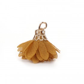 Kwastjes bloem 2cm Goud bruin