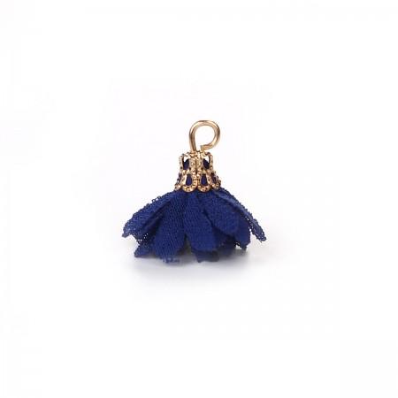 Kwastjes bloem 2cm Goud Marine blauw