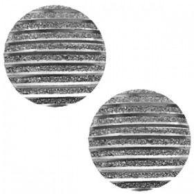 cabochon 20mm basic stripe Metallic silver