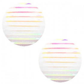 cabochon 20mm basic stripe White holographic