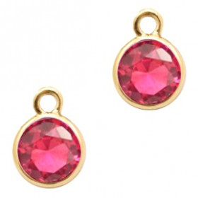 Facethanger rond 6mm Indian pink crystal-gold