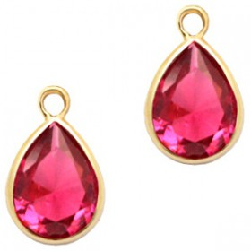 facethanger druppel 6x8 mm Indian pink crystal-gold