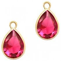 facethanger druppel 6x8 mm Indian pink crystal-gold