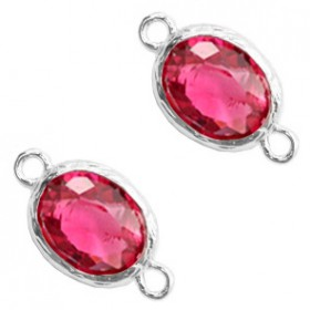 Facet tussenstuk ovaal 10x8mm Indian pink crystal-silver