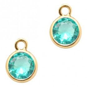 Facethanger rond 6mm Emerald blue zircon crystal-gold