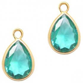 facethanger druppel 6x8 mm Emerald blue zircon crystal-gold